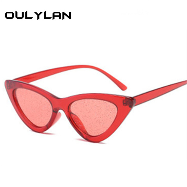 f761e42afe Oulylan Small Sexy Cat Eye Sunglasses Women Vintage Frame Tint Red Shiny  Lens Cateye Sun Glasses