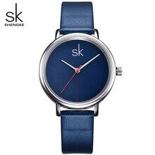 SK Brand Women Fashion Watches Blue Leather Watchband Ladies Quartz Wristwatches relogio feminino Women's Watches