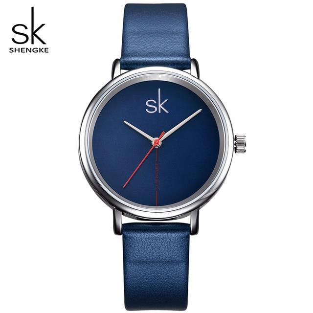 SK Brand Women Fashion Watches Blue Leather Watchband Ladies Quartz Wristwatches