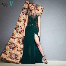 Dressv green evening dress scoop neck floor length a line cap sleeves button wedding party formal dresses