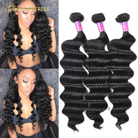 Peruvian 8a Unprocessed Loose Wave Remy Virgin Human Hair Weave Pack of 1 3 4 Loose Deep Curly Wave Hair Extension Natural Color