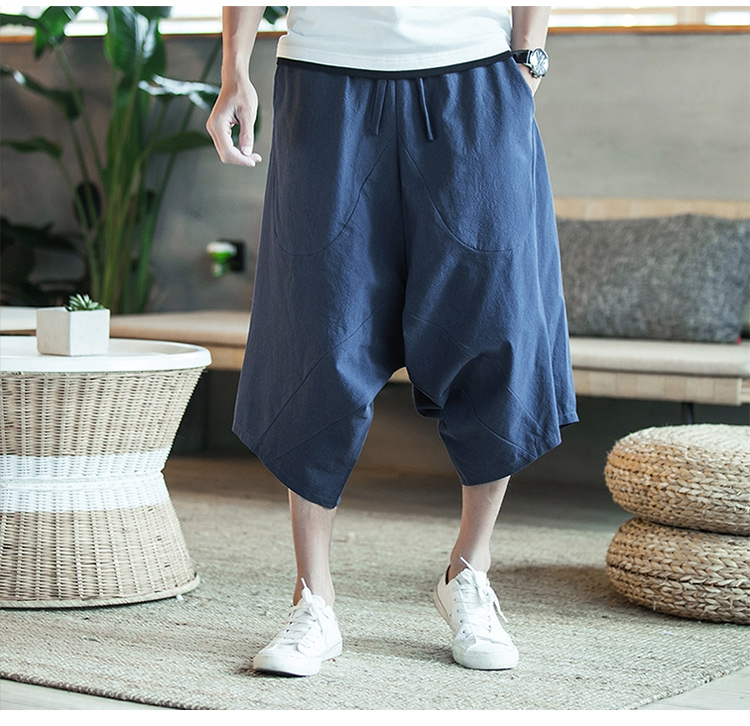 MRDONOO Men Pants Men's Wide Crotch Harem Pants Loose Large Cropped Trousers Wide-legged Bloomers Chinese Style Flaxen Baggy 97