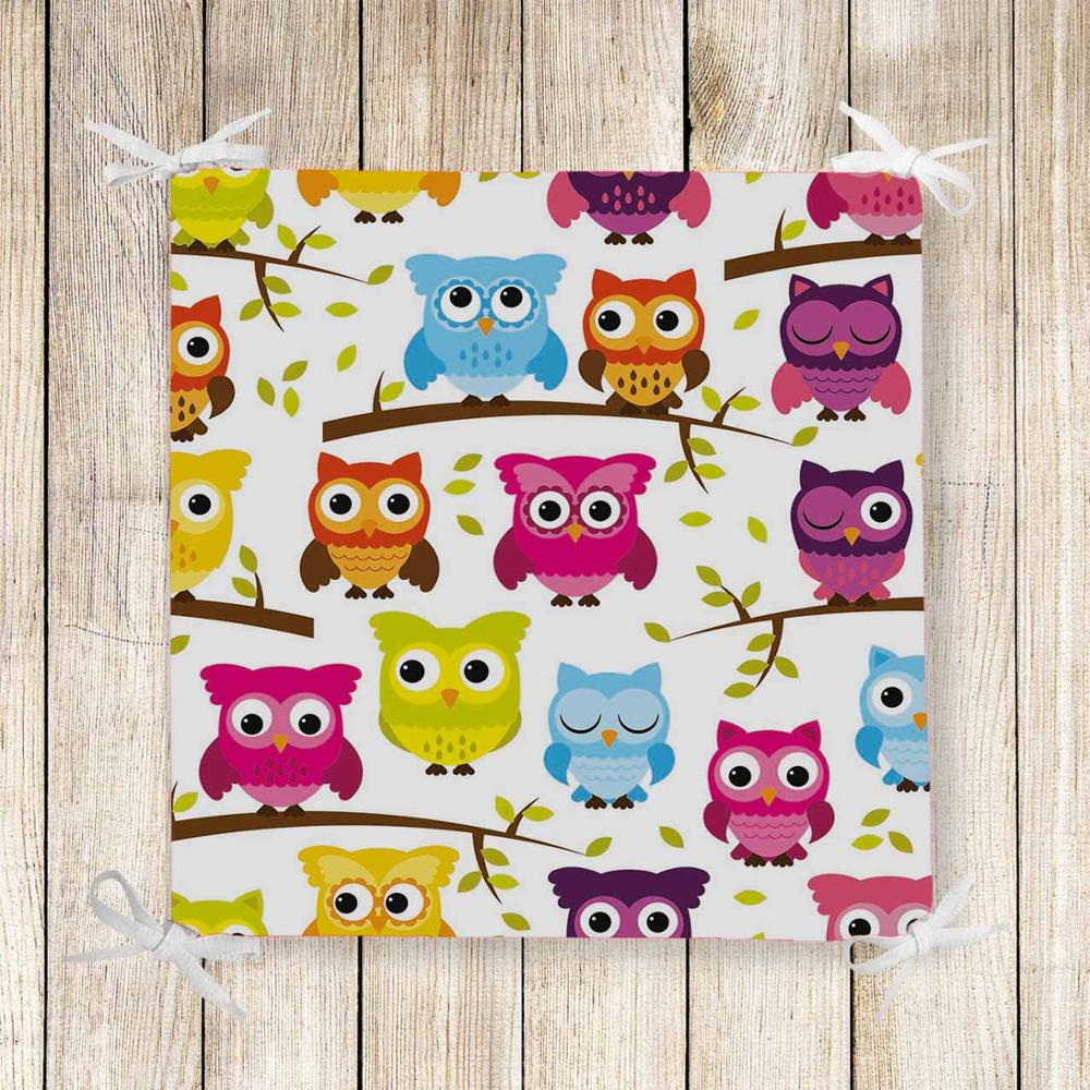 Else Colored Owls On Tree Branch 3d Print Chair Pad Seat Cushion Soft Memory Foam Full Lenght Ties Non Slip Washable Zipper