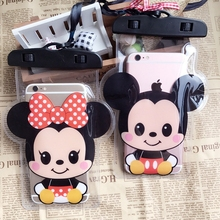 Cartoon Mouse Waterproof Phone Bags with Strap Dry Pouch Cases Cover for iPhone XS 11 7