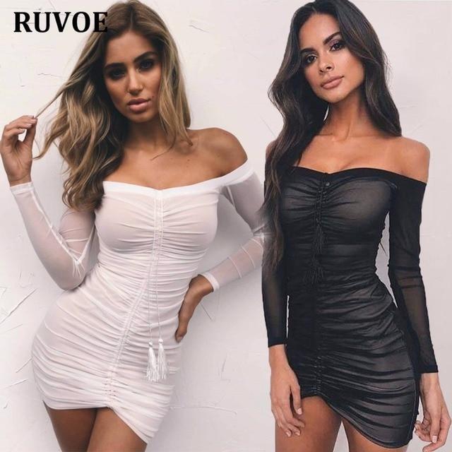 Kim Kardashian Outfit Party Dresses Slash Neck Sexy Black Mesh 3