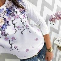 Модная женская Свободная футболка с длинным рукавом с цветочным принтом и круглым вырезом