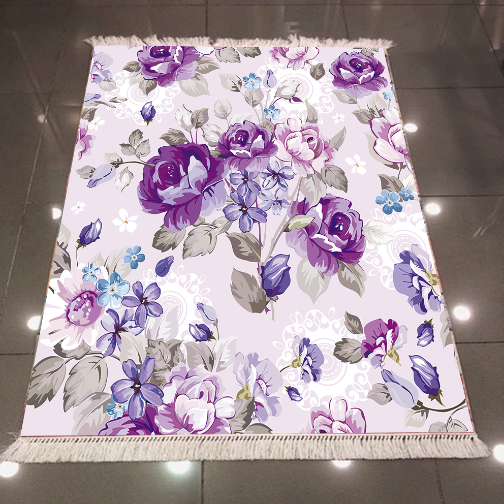 Else Purple Blue Vintage Roses Flowers Floral 3d Pattern Microfiber Anti Slip Back Washable Decorative Kilim Area Rug Carpet