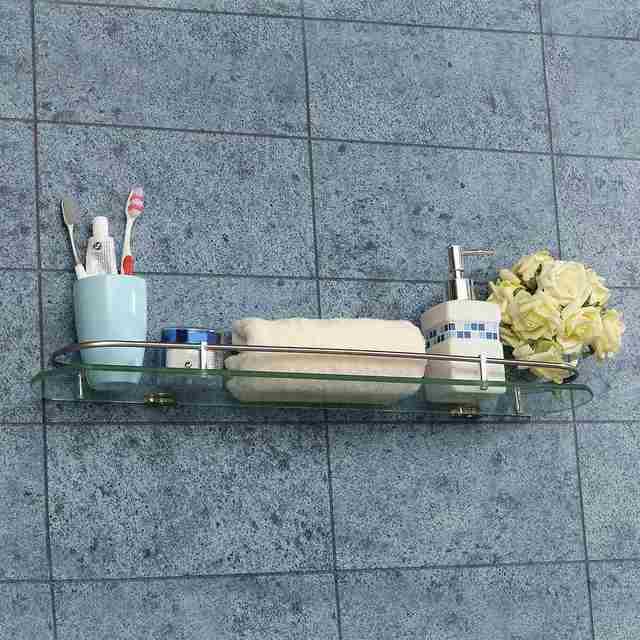 bad regal handtuchhalter dusche glas edelstahl lagerregal zahnbrste zahnpasta organizer halter 3 gre 40 - Handtuchhalter Dusche Glas