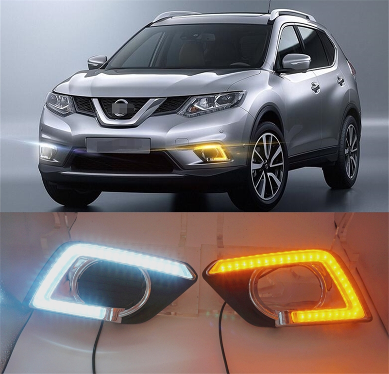 Turn Signal style Relay 12V LED CAR DRL Daytime running lights  with fog lamp hole for Nissan X-trail X trail Xtrail 2014 2015 turn off and dimming style relay led car drl daytime running lights for ford kuga 2012 2013 2014 2015 with fog lamp