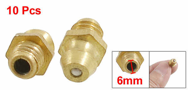 uxcell/® 10 Pcs 6mm Dia Male Thread Straight Grease Nipples