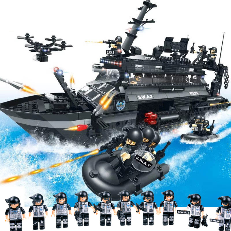 Military Series Police Building Blocks Kids Assembling Urban Weapons Aircraft Car Boat Dolls Boy Toy Compatible Legoe enlighten building blocks navy frigate ship assembling building blocks military series blocks girls