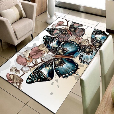 Else Big Blue Butterfly Brown Floral Flowers 3d Print Non Slip Microfiber Living Room Decorative Modern Washable Area Rug Mat