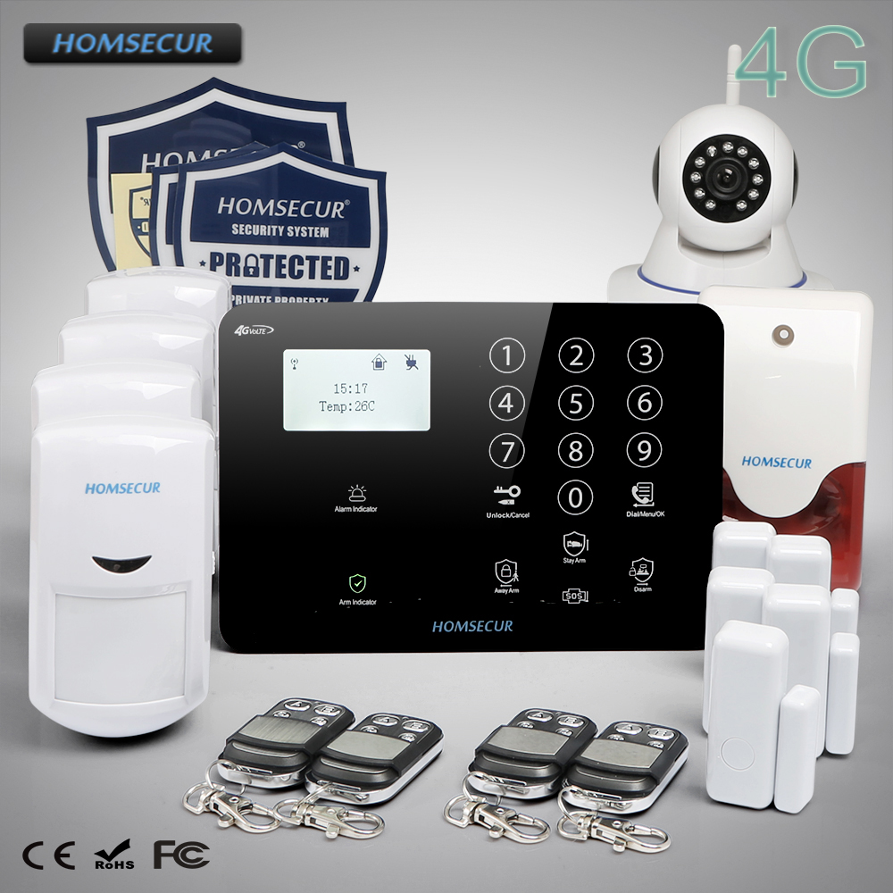 HOMSECUR Wireless&wired 4G LCD Home Security Pet-Immune/Friendly Alarm System diysecur wireless and wired gsm automatic dialing alarm system m2bx pet friendly home security