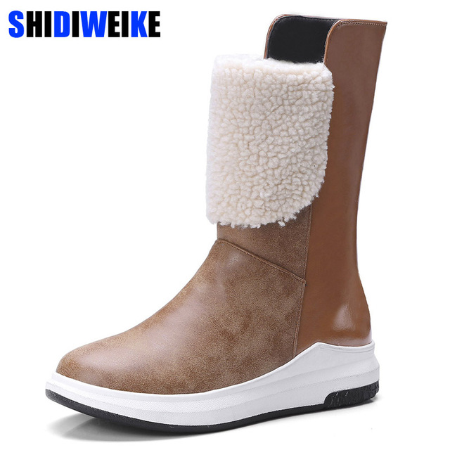 fe2afa4f553 Boots woman shoes winter female warm fur water-resistant upper plus size  fashion non-slip sole new style snow boot N091