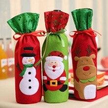 1PC Christmas Decorations for Home Santa Claus Wine Bottle Cover Bag Santa Sack  Decoration