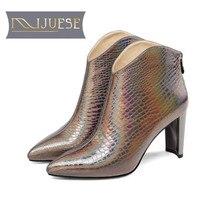 MLJUESE 2019 النساء حذاء من الجلد جلد البقر الانزلاق على أشار تو عالية الكعب أحذية الشتاء قصيرة أفخم حذاء من الجلد حجم 33 43