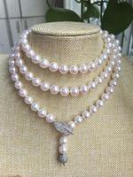 Великолепная AAA 8.5 9 мм Akoya круглый белый жемчужное ожерелье 40 дюймов серебряный>>> девушки колье ожерелье Бесплатная доставка