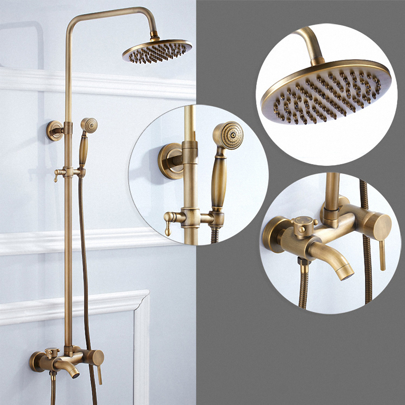Luxury Three Functions Bathroom Rain Shower System, Two Handle, Antique Brass Finish, F83-A1, Solid Brass Material brass material entrance lock antique brass antique copper coffe finish