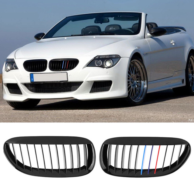 103728925176 Car-Styling Glossy Front Grille Grilles For BMW 6-Series E63 E64 M6 05-10  Convertible Coupe Auto Accessories Black M