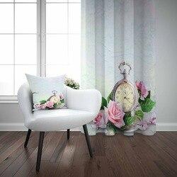 Mais Azul Chão em Relógios Antigos Rosas Cor de Rosa Flores 3D Imprimir Sala Quarto Cortina Painel Da Janela Combinar Presente Travesseiro caso