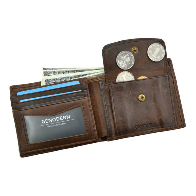 Genodern Cow Leather Men's Wallet with Coin Pocket 1