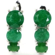 4.7g Реальный серебристый стерлинговый серебристый 925 роскошный реальный зеленый изумрудный кожаный серьги 20%