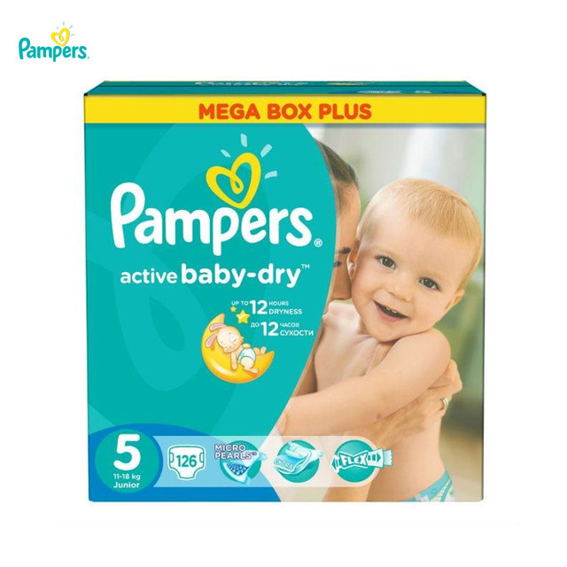 Подгузники PAMPERS Active Baby-Dry Junior 11-18 кг Mega Plus 126