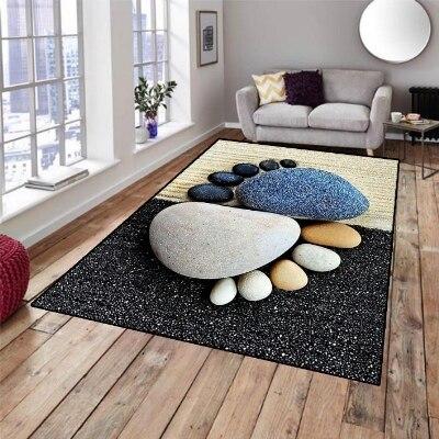 Else Black Cream Blue Pebble Stones Foot Design 3d Print Non Slip Microfiber Living Room Decorative Modern Washable Area Rug Mat