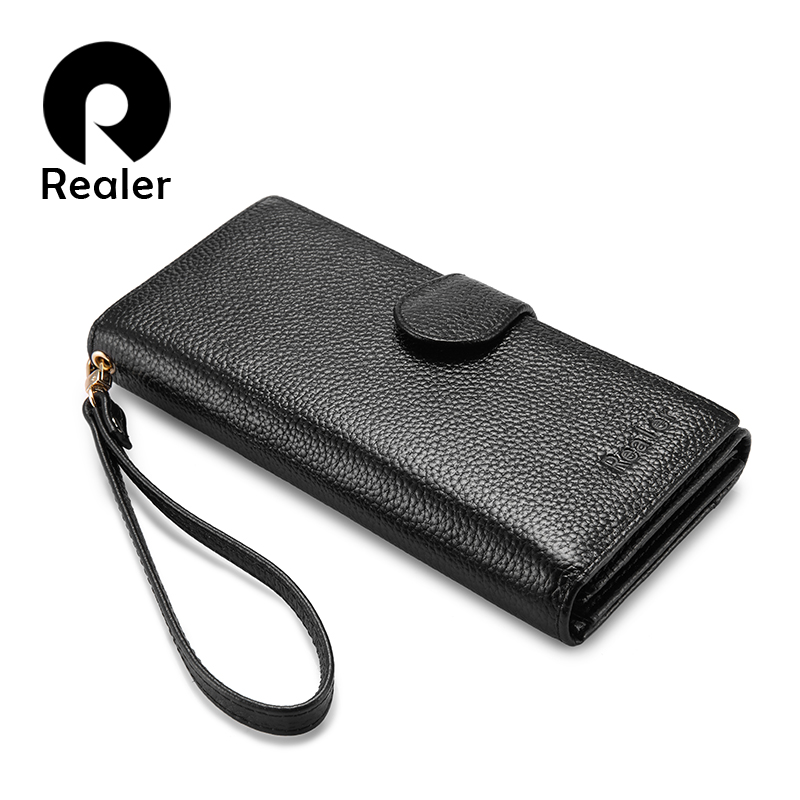 REALER wallets for women genuine leather long purse female clutch with wristlet strap bifold credit card holders RFID blocking english with crosswords 3 dvdrom