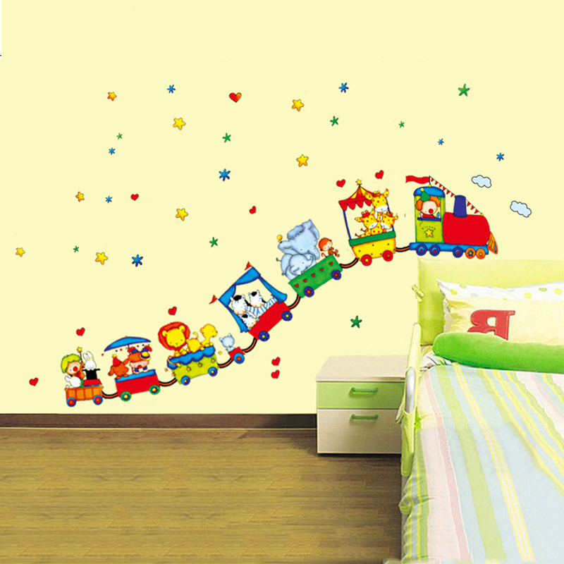 Cute 3d train wall stickers for kids rooms removable cars - Childrens bedroom wall stickers removable ...