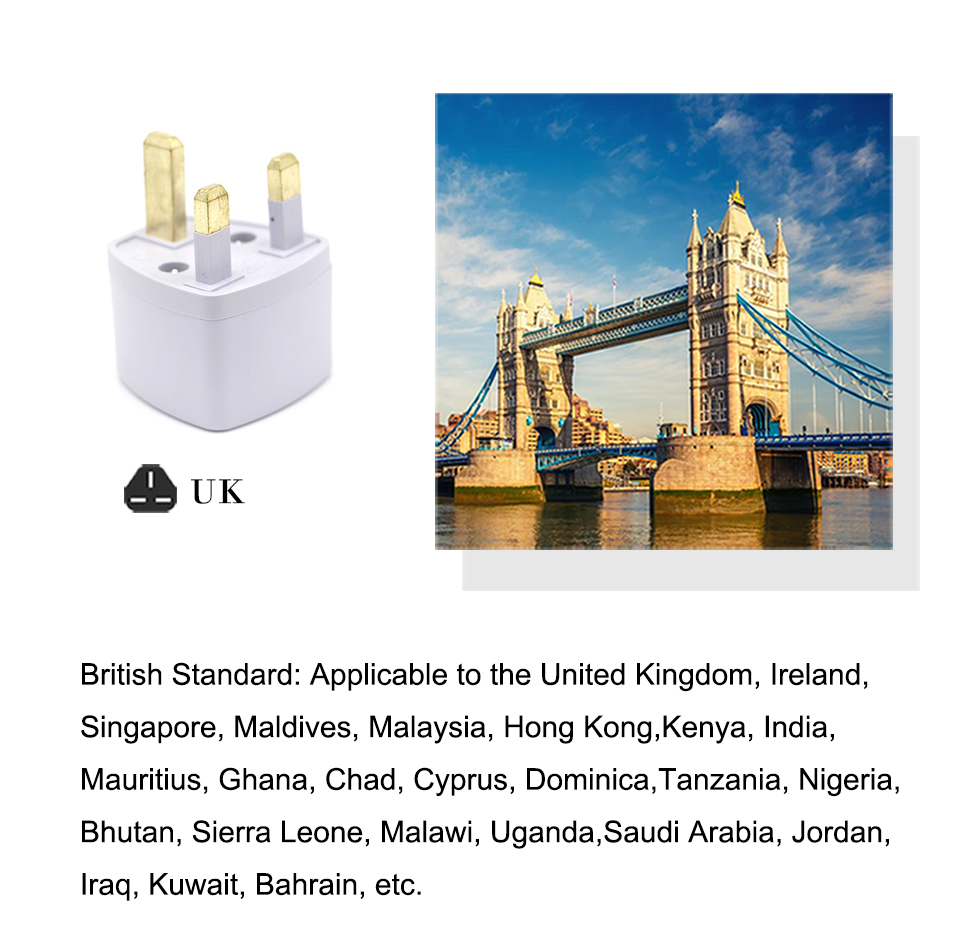 Multifunctional EU US AU to UK Plugs adapter Power Converter Plugs 2 Pin Socket EU to England Travel Charger Adapter Converter (4)