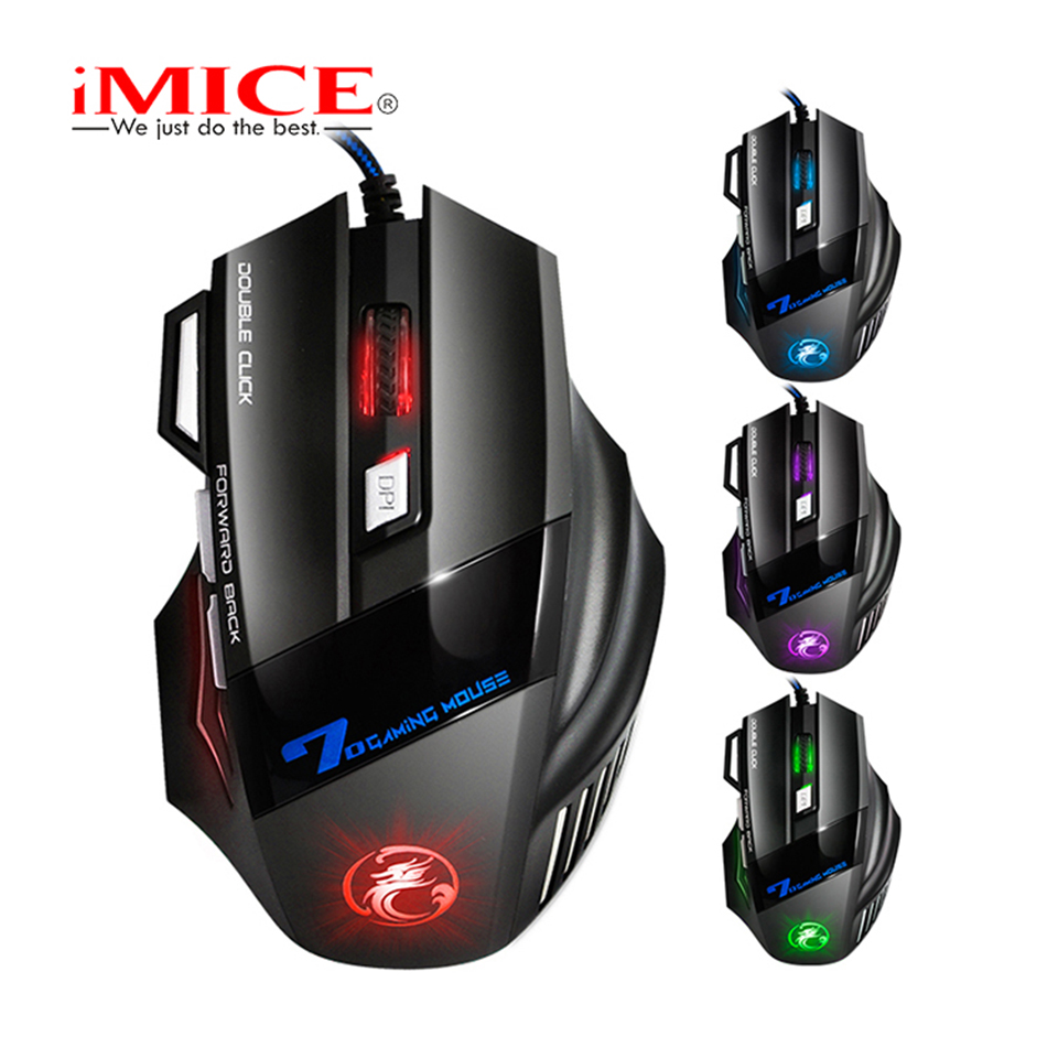 iMICE X7 Wired Gaming Mouse 7 Buttons Optical <font><b>5000DPI</b></font> Professional Mouse Gamer Computer Mice For PC Laptop image