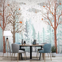 Custom 3d wallpaper - Nordic forest bird wood grain background wall painting living room bedroom decoration mural