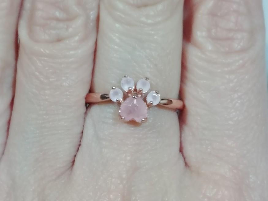Cute Paw Rose Quartz Ring