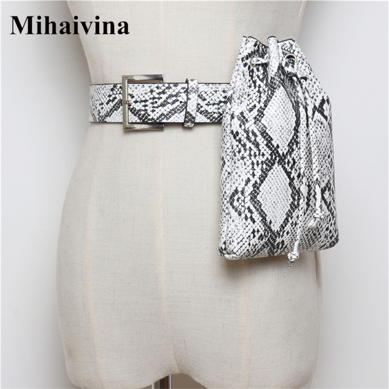 Mihaivina Python Waist Bag Women Fanny Pack Belt Bags Luxury Brand Fashion Leather Women Bag Handbag Lady Bucket Bags wholesale belt bag women waist bag white waist fanny pack luxury brand leather chest handbag lady s belt bags 2018 shoulder bags purse