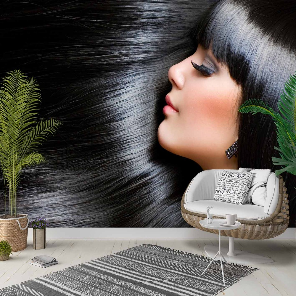 Else Black Hair Smile Women Hairdresser 3d Photo Cleanable Fabric Mural Home Decor Living Room Bedroom Background Wallpaper