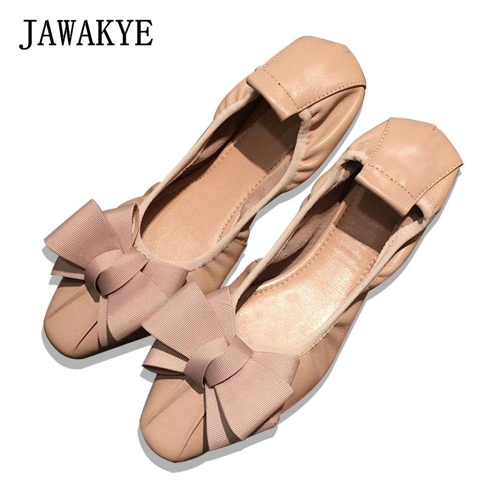 2018 Pregnant Women Shoes Butterfly knot Soft Bottom Ballet Flats Shoes Women Square Toe Casual Flats Loafers ladies nude Shoes