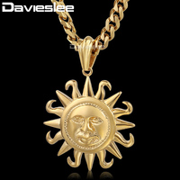 Davieslee 316L Stainless Steel Gold Tone Silver Tone Tribe Sun Pendant Mens Boys Pendant Fashion Necklace
