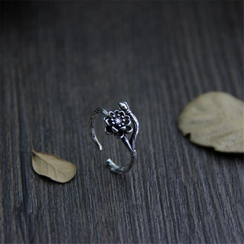 925 Sterling Silver Lotus Flowers Branch Band Adjustable Wrap Ring Fine Quality Open Finger Ring Hongkong Size 9 15 At Random in Rings from Jewelry Accessories
