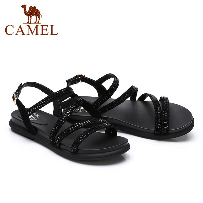 CAMEL Women Fashion Casual Summer Sandals Ladies Genuine Leather Buckle Flats Shoes Women Comfort Exposed Toe