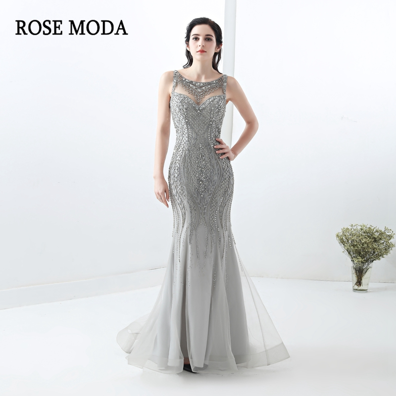 Rose Moda Gorgeous Silver Formal Mermaid   Evening     Dress   Crystal Bling Long   Evening     Dresses   with Train Custom Make