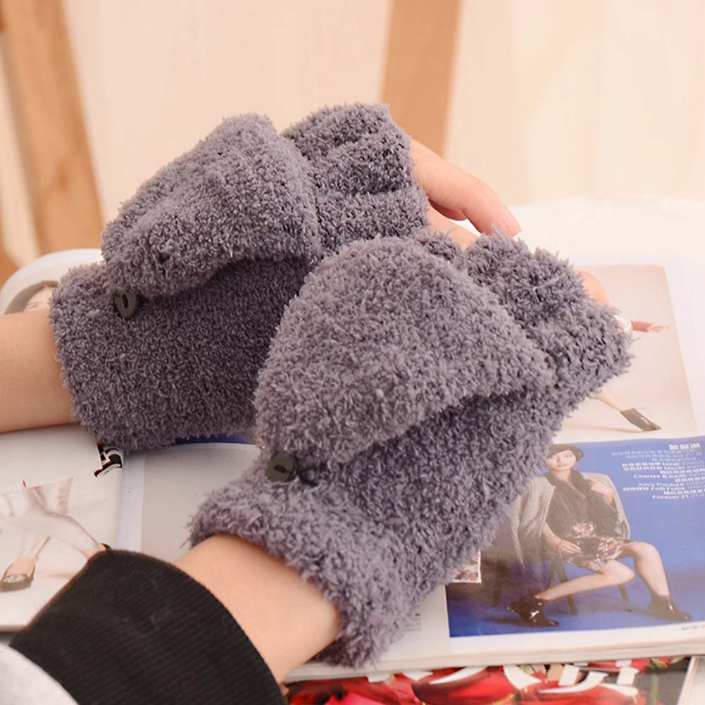 Fashion Girls Coral Velvet Flip Cover Half Finger Winter Hand Warmer Mittens Dual-use Warm Keeper Touch Screen  Gloves Christmas