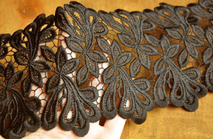 Image 2 - 2 Meters 11.5cm Width High Quality Black Lace Sewing Ribbon Guipure Venice Lace Trim Fabric Warp Knitting DIY-in Lace from Home & Garden