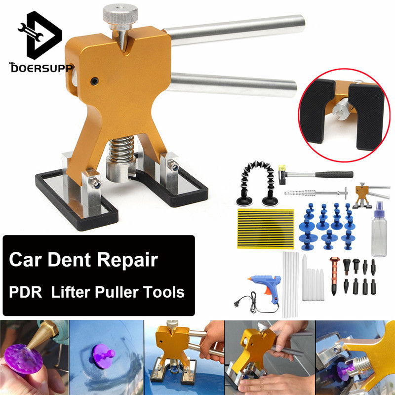 51Pcs PDR Tools Dent Puller Glue Tabs Puller Paintless Dent Removal Repair Tool for Car Repair with Glue-gun Hand Tools Set pdr tools to remove dents car dent repair paintelss dent removal puller kit lifter removal glue tabs fungi sucker hand tool set