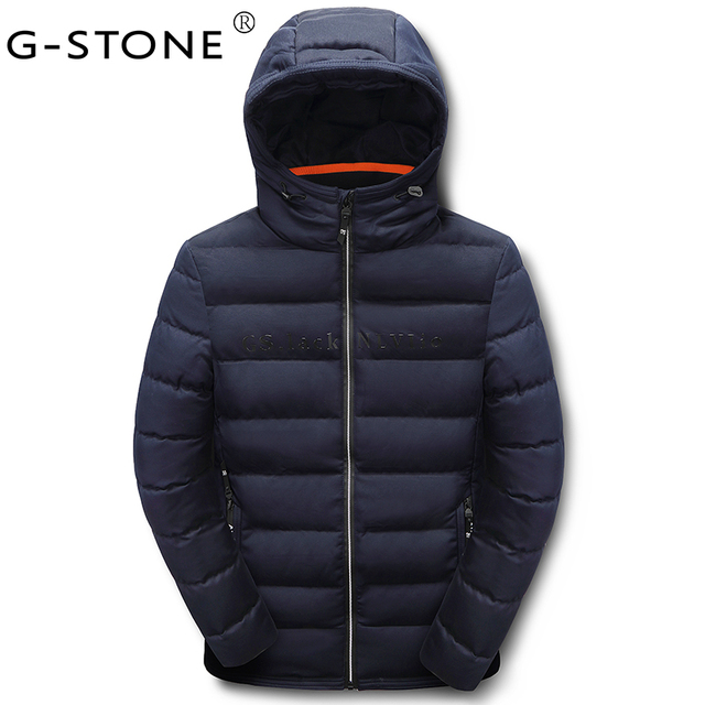 G-STONE 2017 New Men's Winter Room Temperature Quilting Men's Pure Color  Coat Jacket Hat