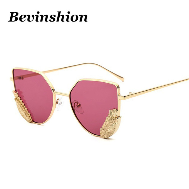 76b37f027273 New Arrival Cat Eye Sunglasses Women Wing Metal Pink Gradient Sun Glasses  Clear Vintage Shades Brand Designer Oculos De Sol