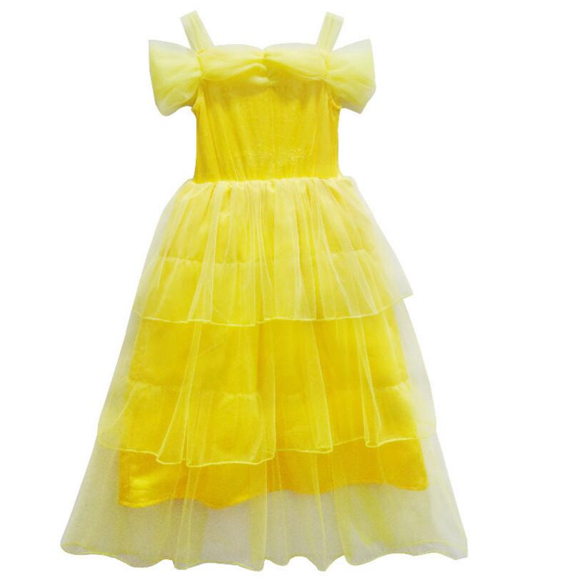 5229aa9fc59 Cosplay Costume Princess Party Dress Belle Costume Beauty And Beast Party Yellow  Summer Dress For Girls Kids