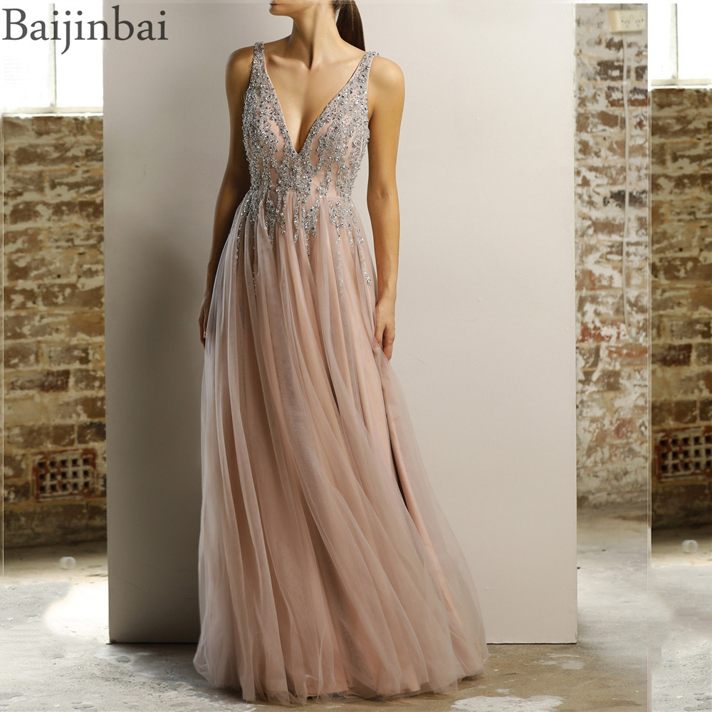 Baijinbai V Neck Back Long Prom Dresses Robe De Soiree Sexy Crystal Beading A-line Tulle Formal Evening Dress Party Gowns 2020