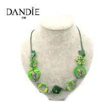 Dandie Fashion Green Necklace, Made of Acrylic Bead, Shell, Wooden Iron Leaf