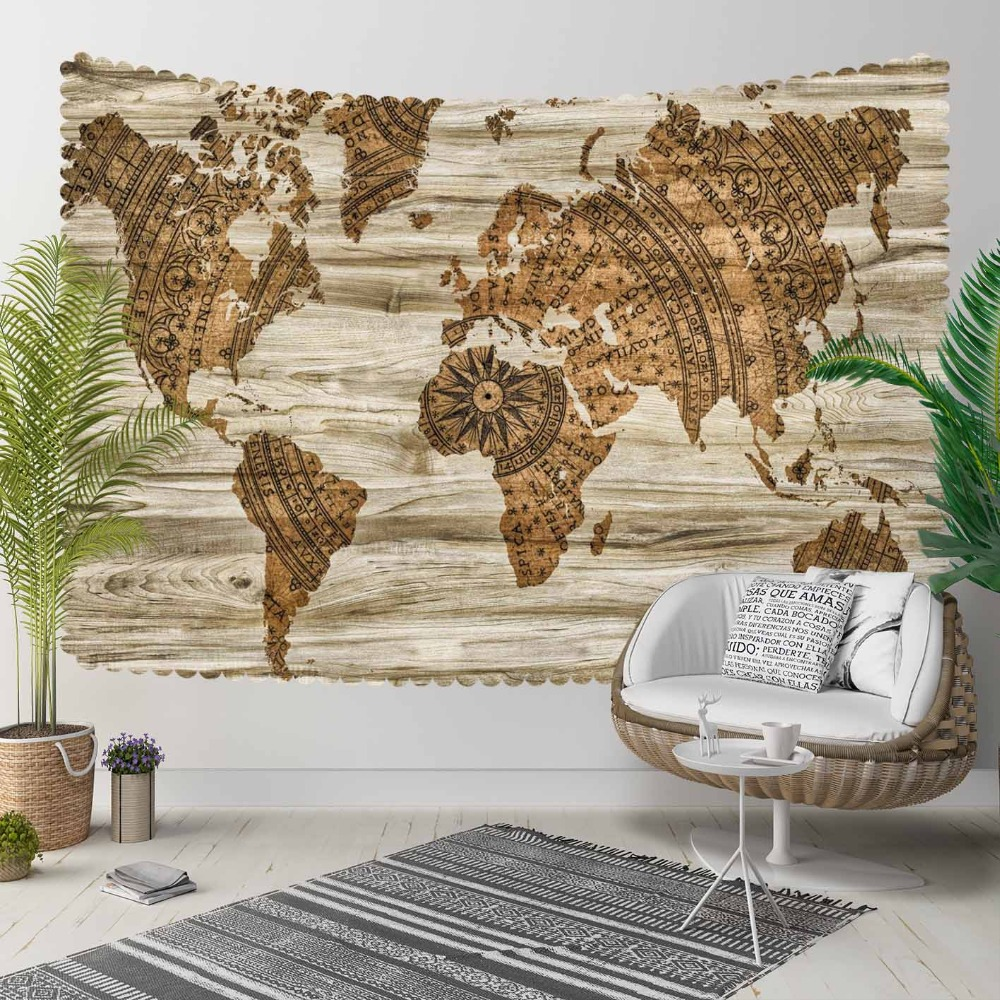 Else Brown Wooden Aging World Earth Map Vintage 3D Print Decorative Hippi Bohemian Wall Hanging Landscape Tapestry Wall Art